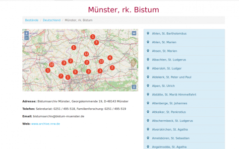 Screenshot der Website von Matricula-online